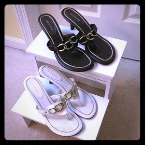 Liz Claiborne brown white slides sz 8.5